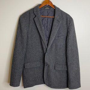 Vintage L.L. Bean grey wool Primaloft herringbone quilted lined jacket 42 Reg